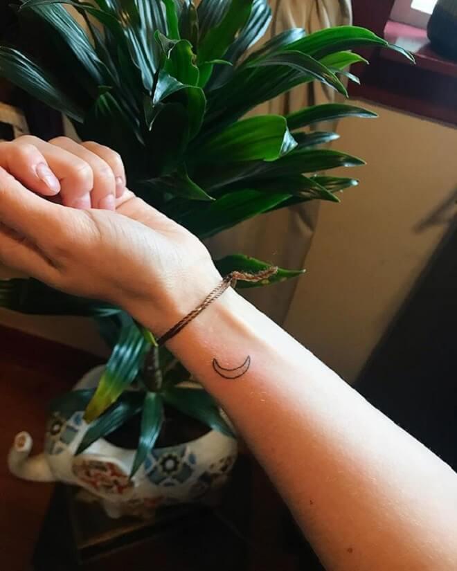 Line Crescent Moon Tattoo