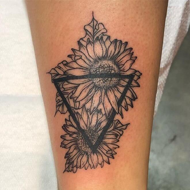 Line Geometric Flower Tattoo