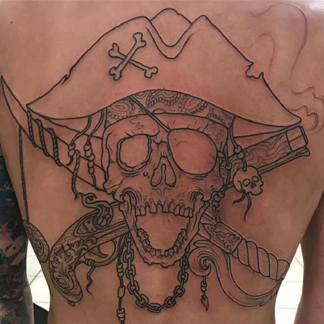 Line Pirate Skull Tattoo