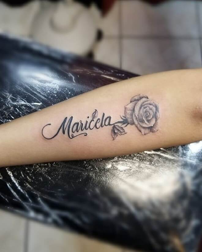 Name with Rose Tattoo