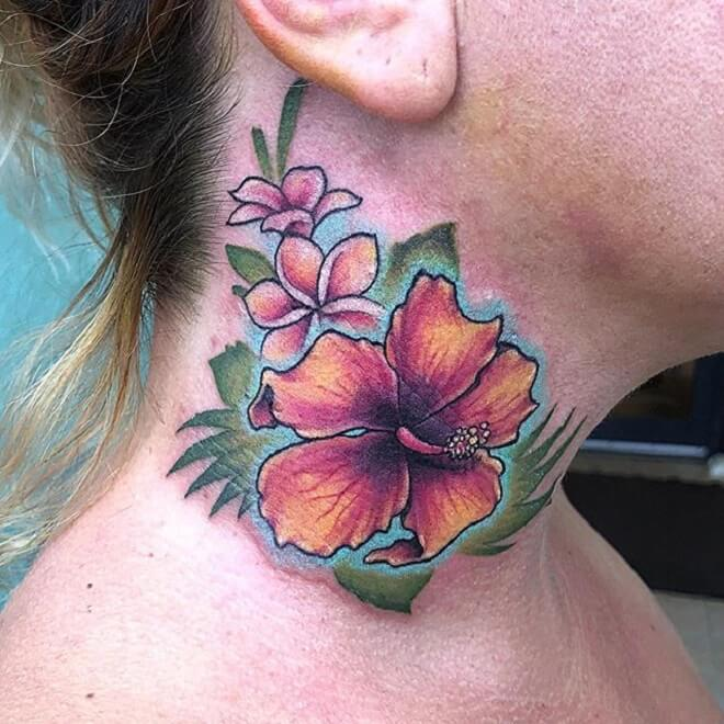 Neck Hibiscus Tattoo