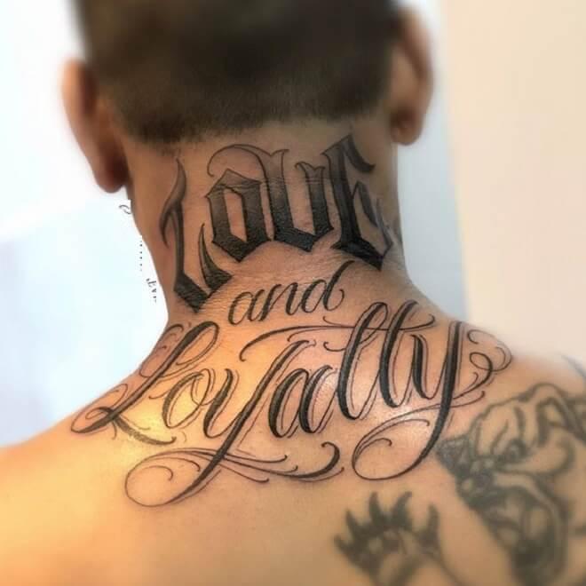 Neck Script Tattoo