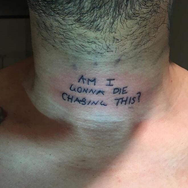 Neck Text Tattoo