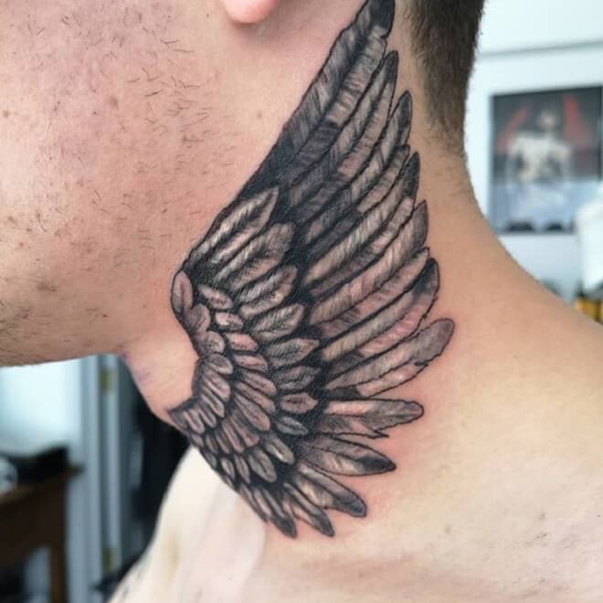 Neck Wing Tattoo