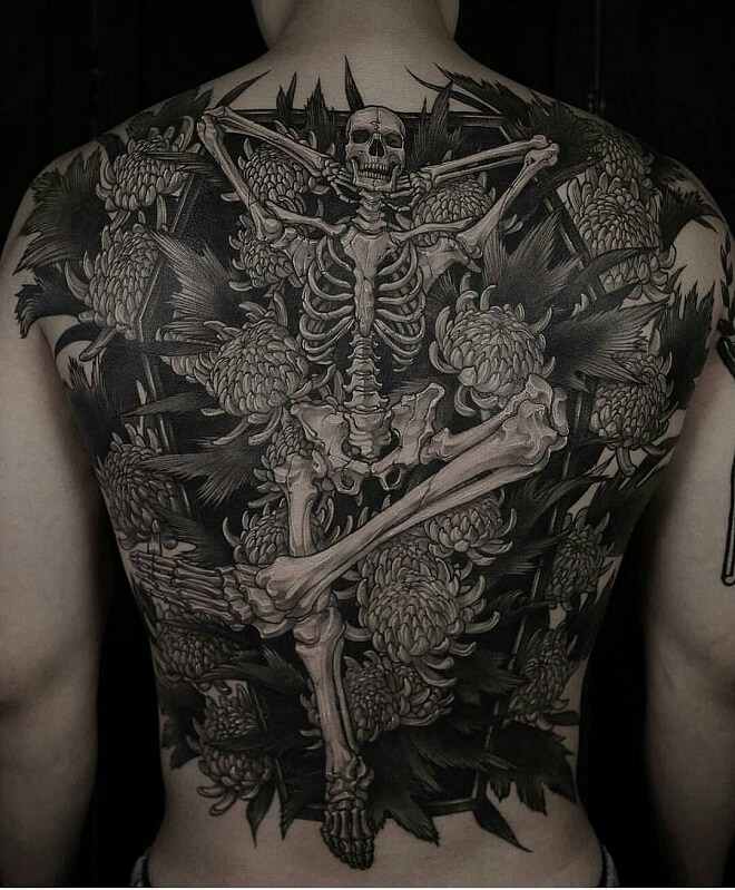 Old School Back Tattoo