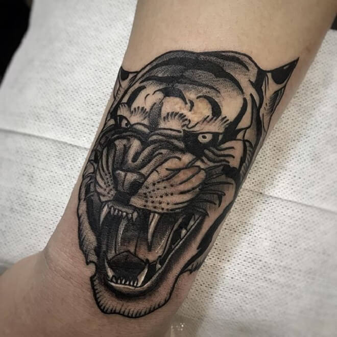 Old School Tiger Tattoo