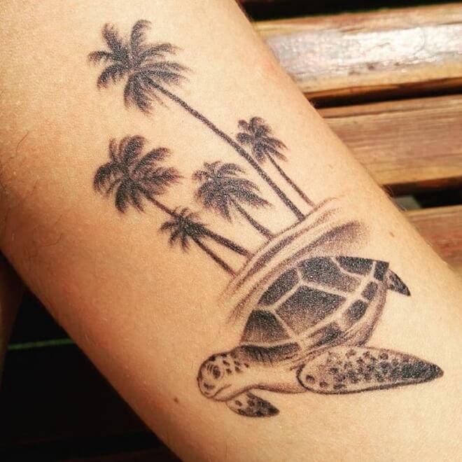 Palm Tree Turtle Tattoo