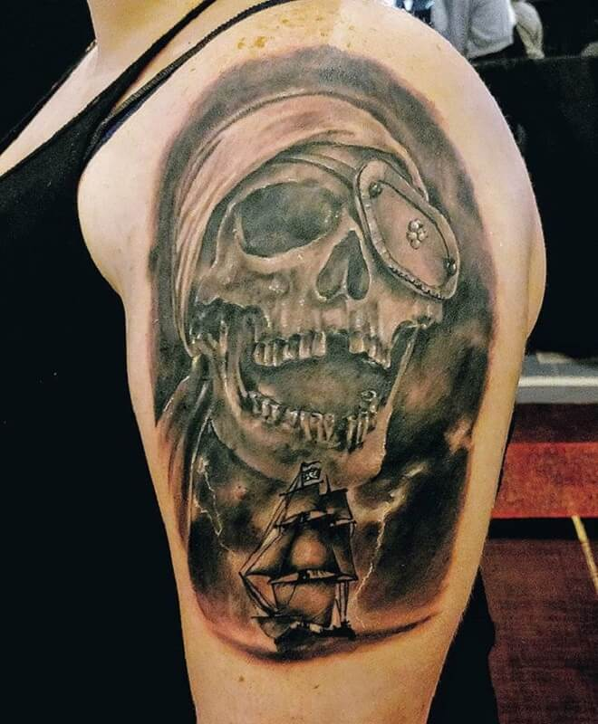 Pirate Skull Grey Tattoo