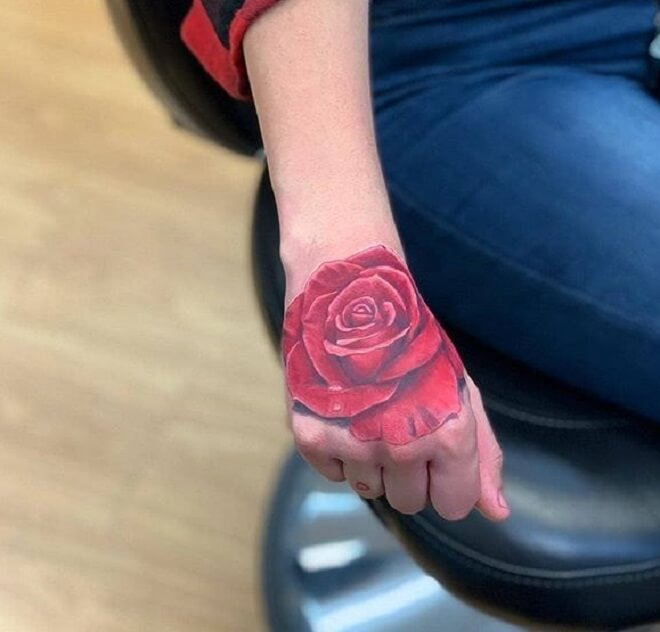 Popular Rose Hand Tattoo