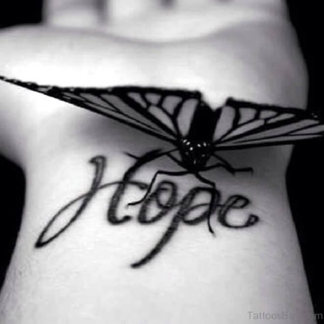 Realistic Hope And Butterfly Tattoo