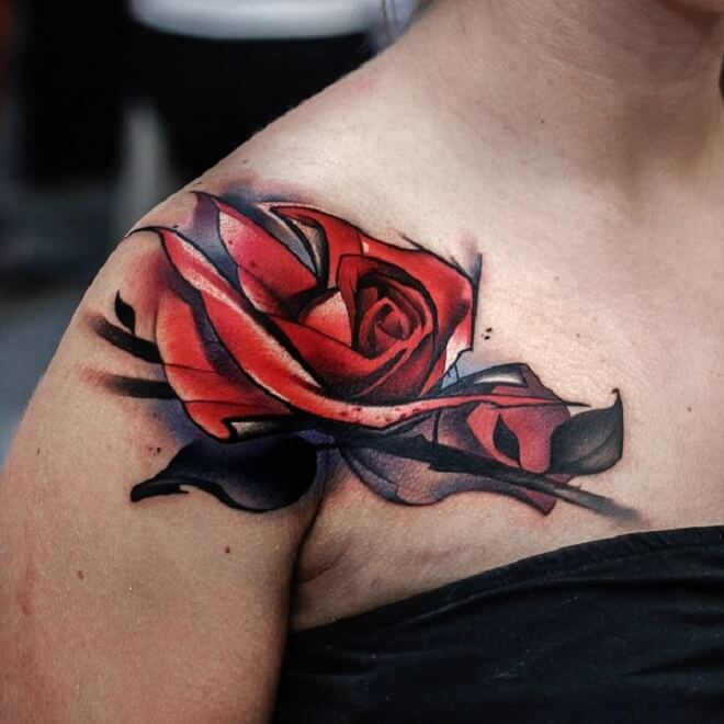 Red Flower Shoulder Tattoo