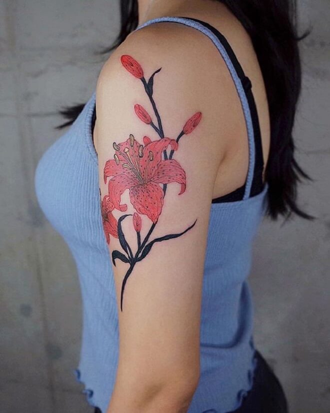 Red Lily Tattoo