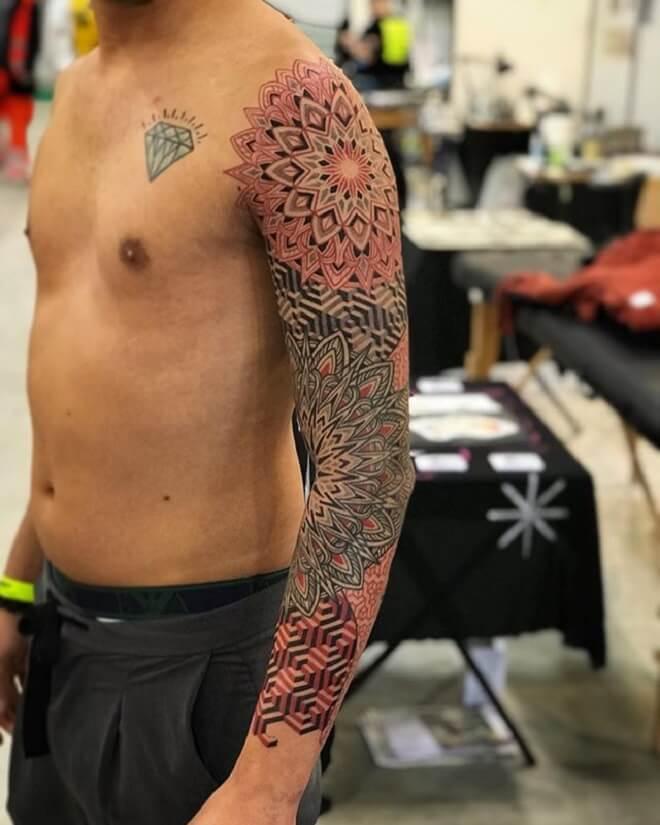 Red Sacred Geometry Tattoo