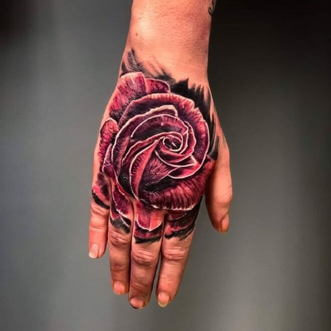Rose Hand Tattoo Designs