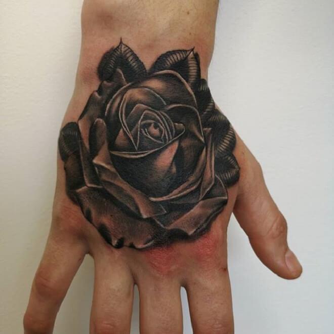 Rose Hand Tattoo Style