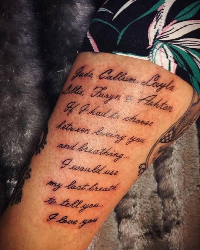Script Tattoo Designs