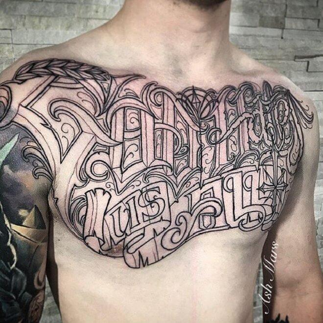 Script Tattoo on Chest