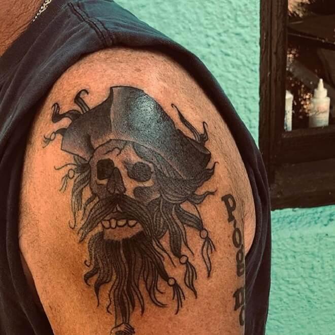 Shoulder Pirate Skull Tattoo
