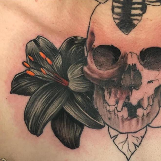 Skull Lily Tattoo
