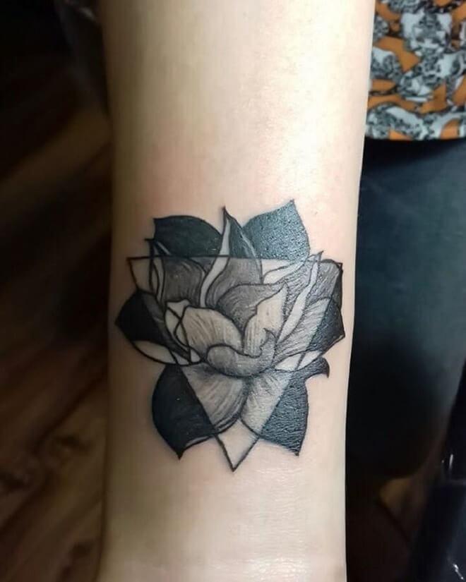 Small Geometric Flower Tattoo