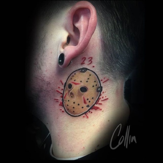 Small Jason Mask Tattoo
