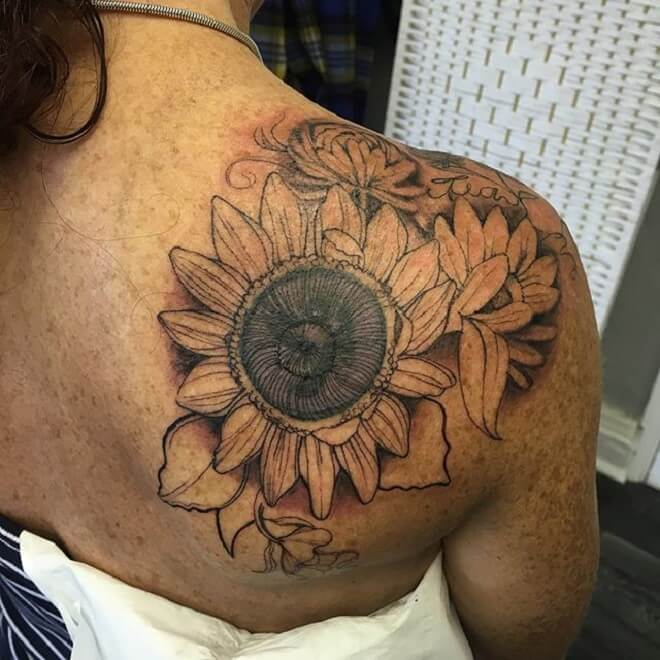Sun Flower Shoulder Tattoo
