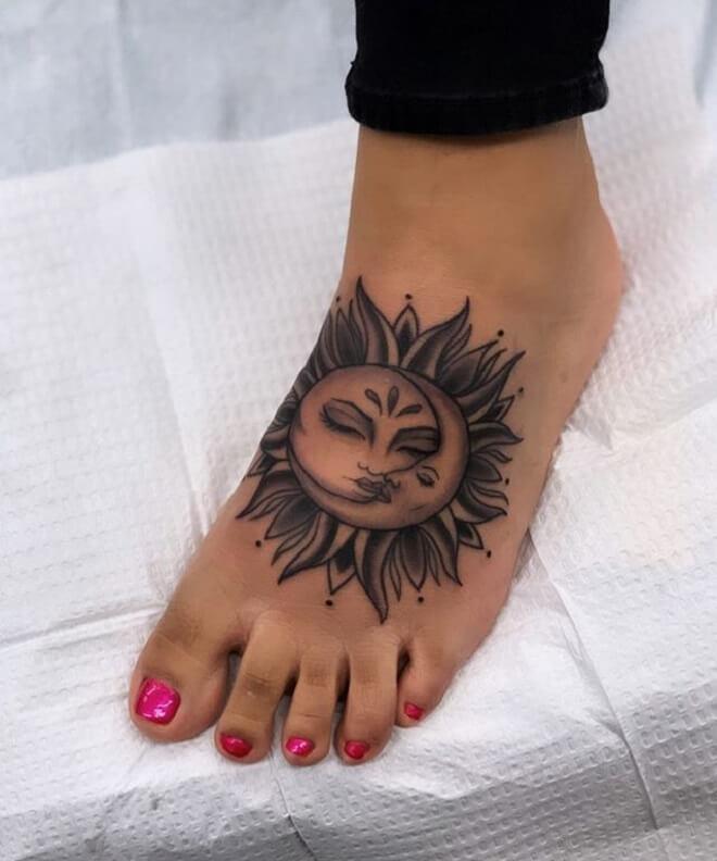 Sun Foot Tattoo