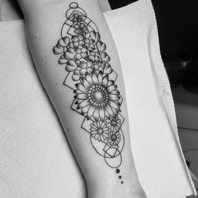Sunflower Geometric Flower Tattoo