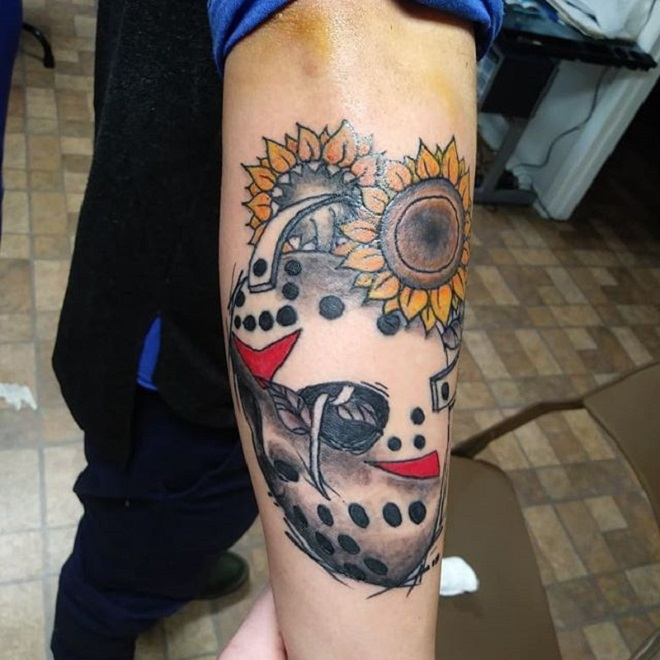 Sunflower Jason Mask Tattoo
