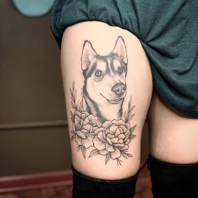 Thigh Black Tattoo