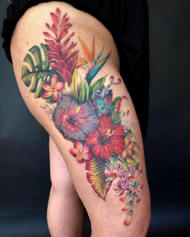 Thigh Hibiscus Tattoo