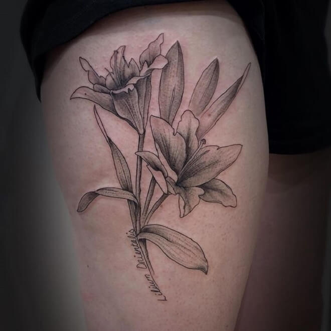 Thigh Lily Tattoo