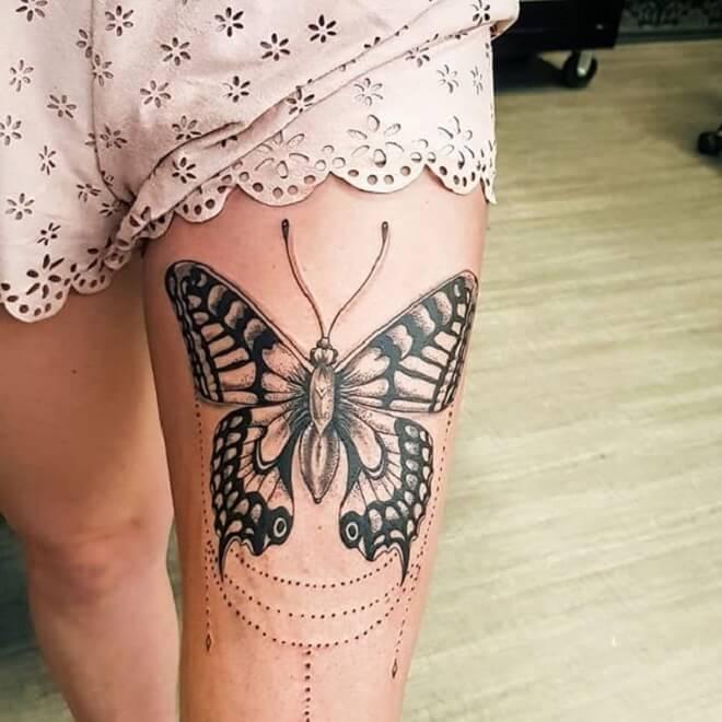 Thigh Moth Tattoo
