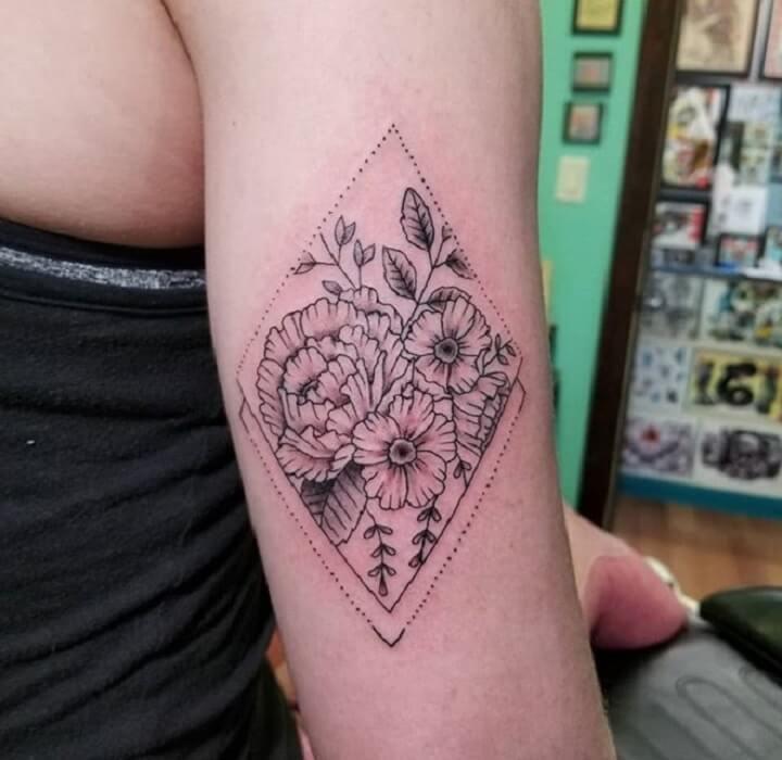 Top Geometric Flower Tattoo
