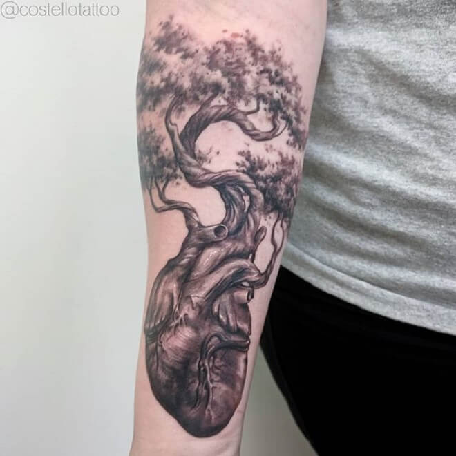 Tree Anatomical Heart Tattoo