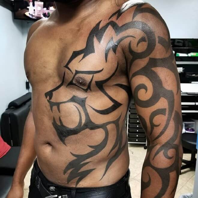Tribal Wolf Full Body Tattoo