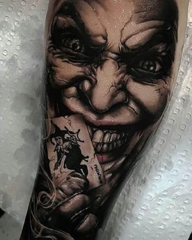 Villian Crazy Joker Tattoo