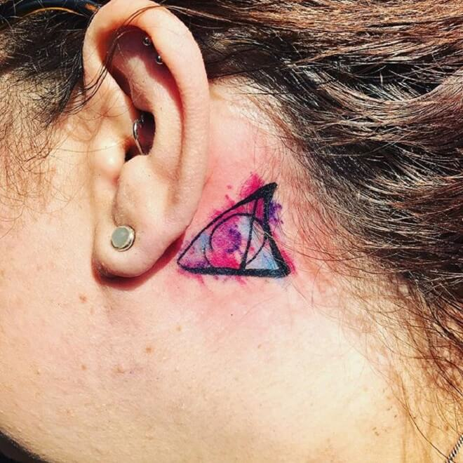 Watercolor Behind the Ear Tattoo