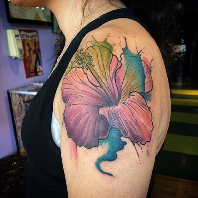 Watercolor Hibiscus Tattoo