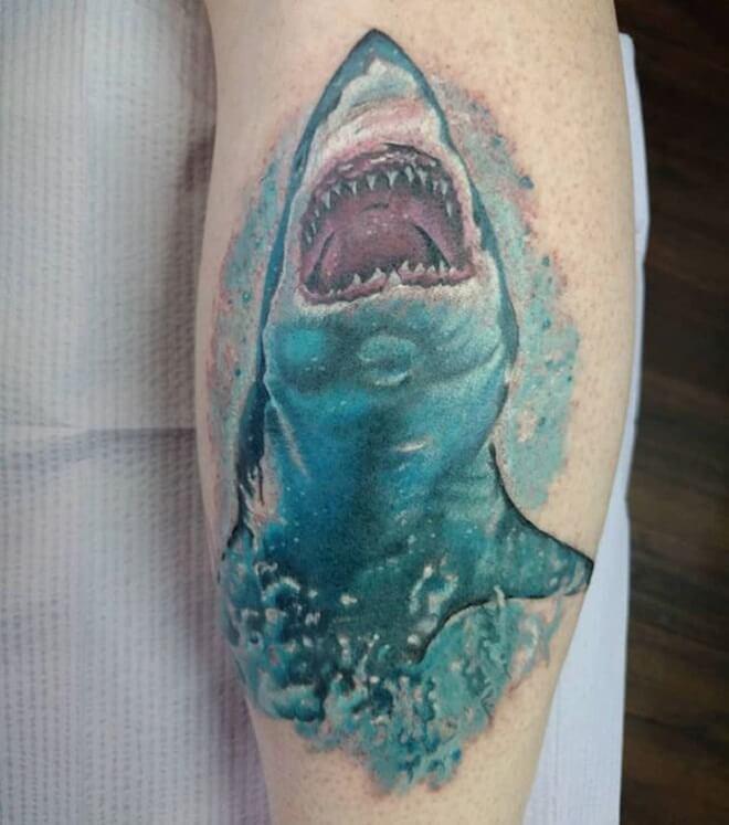 Watercolor Shark Tattoo