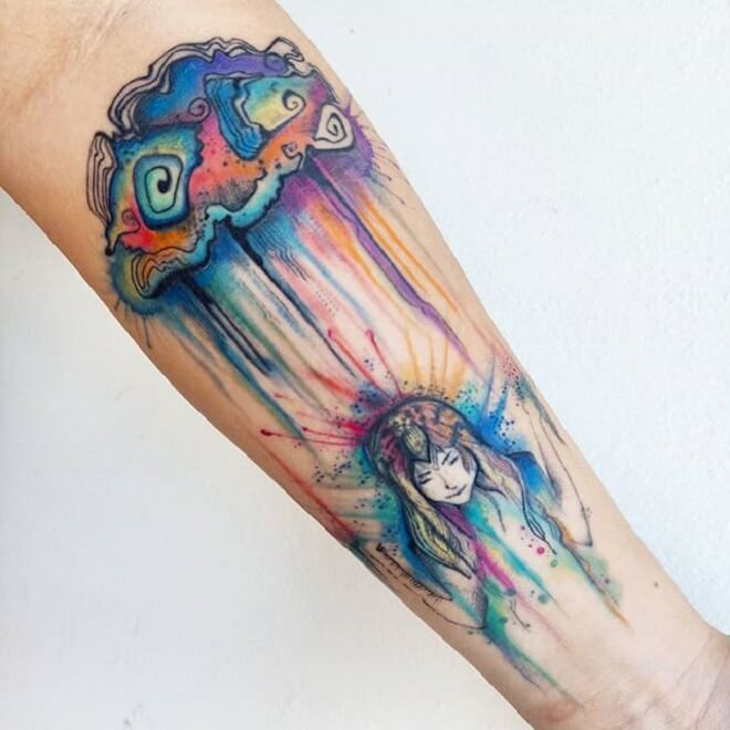 Watercolor Simple Arm Tattoos