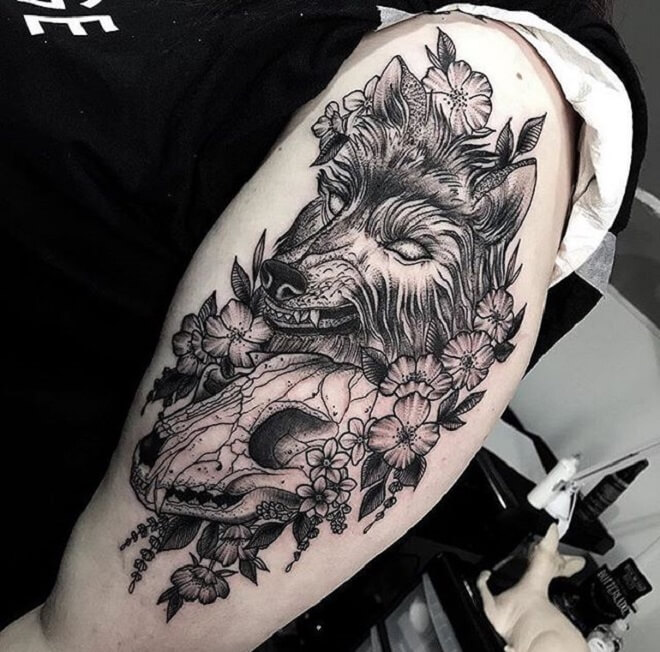 Wolf Skull Tattoo Designs