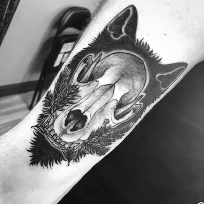Top 30 Wolf Skull Tattoos   Amazing Wolf Skull Tattoo