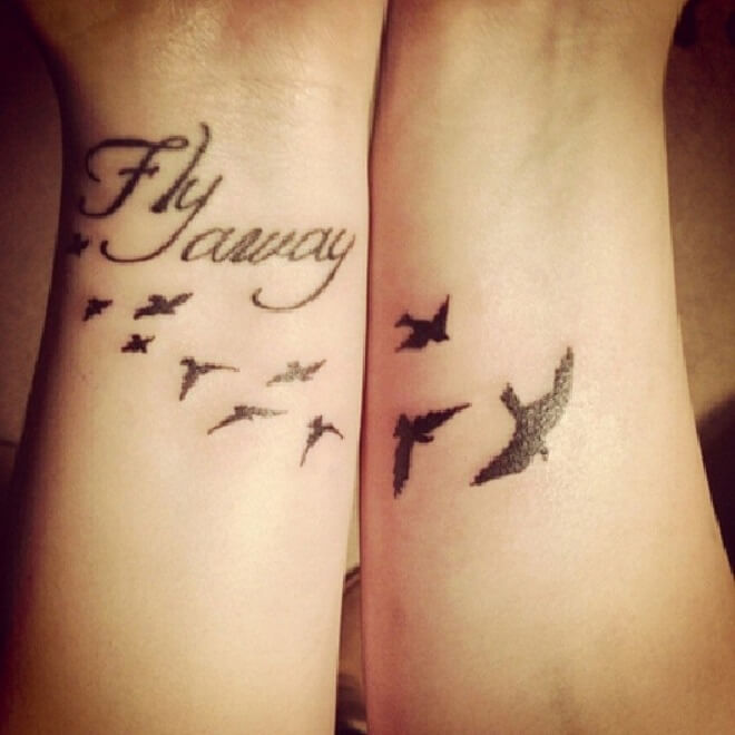 Wrist Flock of Birds Tattoo