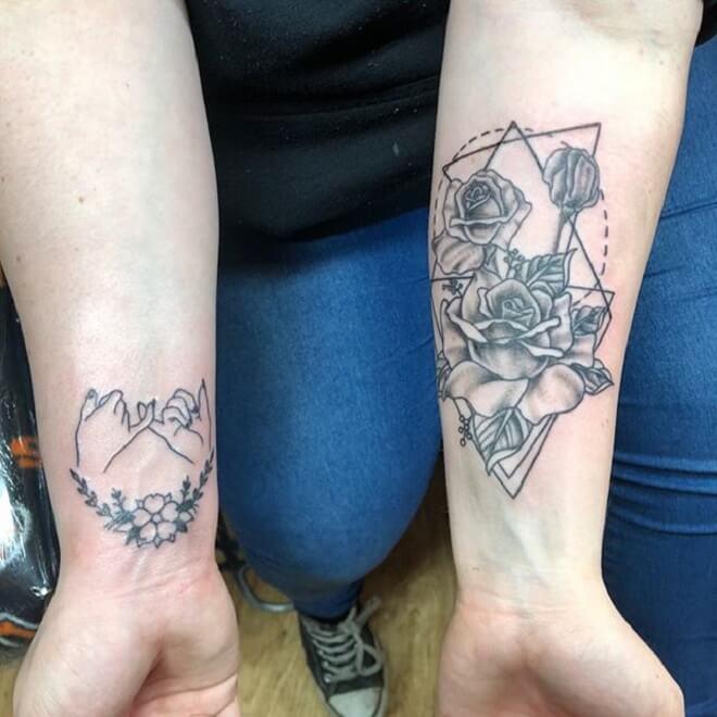 Wrist Geometric Flower Tattoo
