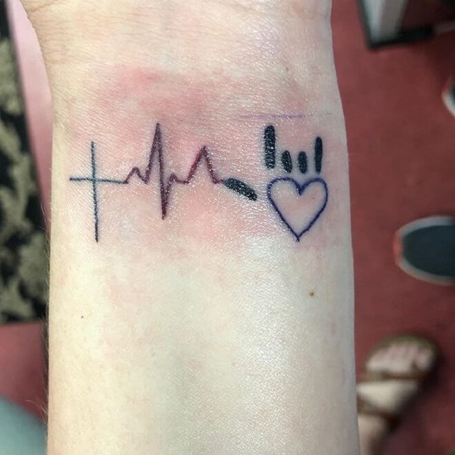 Wrist Heartbeat Tattoo