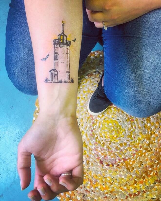 Wrist Lighthouse Tattoo