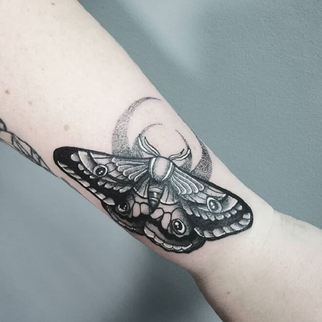 Wrist Moth Tattoo